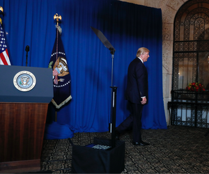 President Donald Trump walks away after speaking at Mar-a-Lago in Palm Beach, Fla., Thursday, April 6, 2017.
