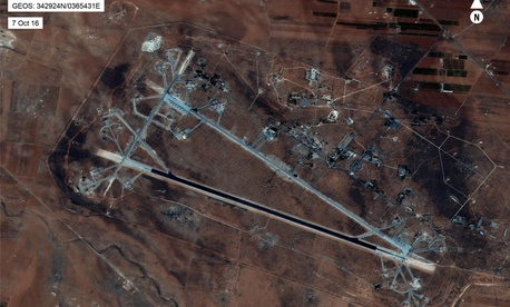 An October 2016 aerial photo of Shayrat Airfield, which U.S. warship hit with cruise missiles on April 7, 2017.