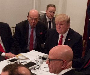 In Florida, President Donald Trump and members of his administration get a videoconferenced briefing about the April 7, 2017, cruise missile strike on Syria.