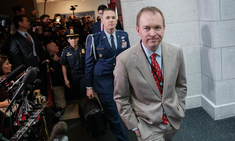 Budget Director Mick Mulvaney arrives on Capitol Hill in Washington, Tuesday, March 21, 2017.