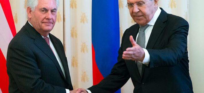 Secretary of State Rex Tillerson meets Russian Foreign Minister Sergey Lavrov for talks in Moscow, Russia, Wed., April 12, 2017.