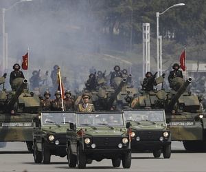 Soldiers on tanks parade across Kim Il Sung Square during a military parade on Saturday, April 15, 2017, in Pyongyang, North Korea.