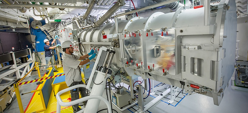 An operator prepares the Target and Diagnostic Manipulator at the Lawrence Livermore National Laboratory, Feb. 2017.