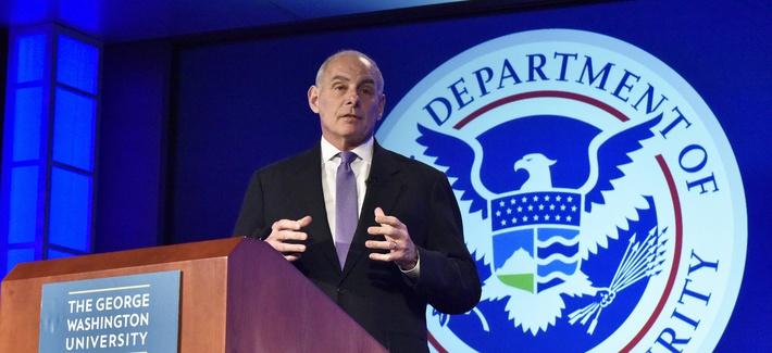 Secretary of Homeland Security John Kelly speaks at George Washington University's Center for Cyber and Homeland Security in Washington, D.C., April 17, 2017.