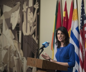 United States Ambassador to the United Nations Nikki Haley speaks to reporters after a Security Council meeting on the situation in the Middle East, Thursday, Feb. 16, 2017 at U.N. headquarters.