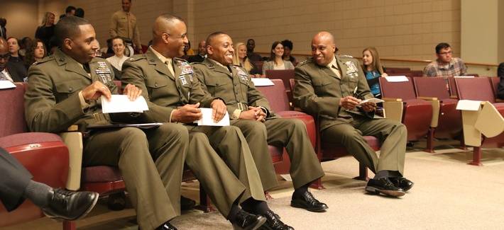 Lt. Gen. Vincent R. Stewart speaks to students and staff of North Carolina Central University, University of North Carolina at Chapel Hill, Duke University and North Carolina State University about the opportunities in the U.S. Intelligence Community.