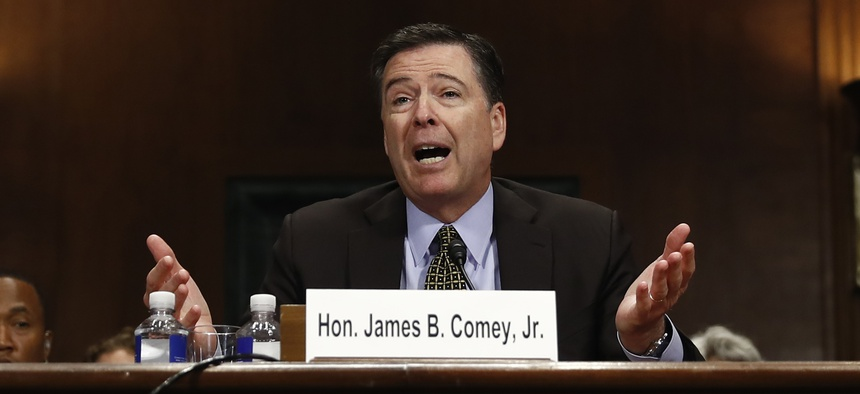 "FBI Director James Comey testifies on Capitol Hill in Washington, Wednesday, May 3, 2017, before the Senate Judiciary Committee hearing: ""Oversight of the Federal Bureau of Investigation."""
