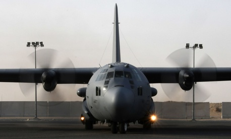An EC-130H Compass Call prepares to taxi Dec. 5, 2016 at an undisclosed location in Southwest Asia.