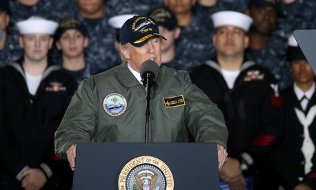 President Donald Trump visits the precommissioning unit Gerald R. Ford (CVN 78) in March 2017.