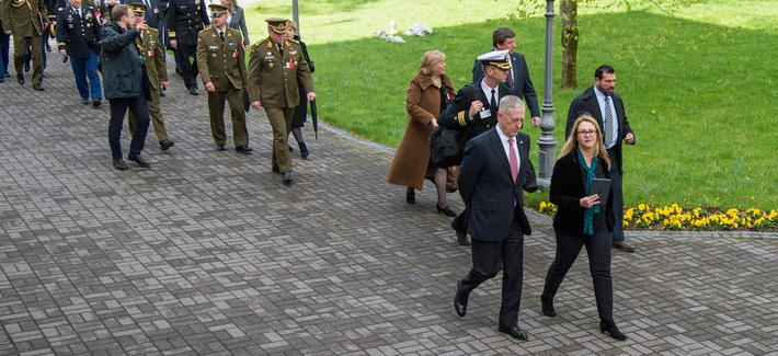 Secretary of Defense Jim Mattis is given a tour during his visit to the Presedential Palace in Vilnius, Lithuania, May 10, 2017.