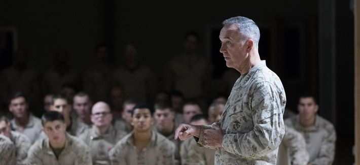Joint Chiefs chairman Gen. Joseph Dunford addresses troops in Taqaddum, Iraq, in November 2016.
