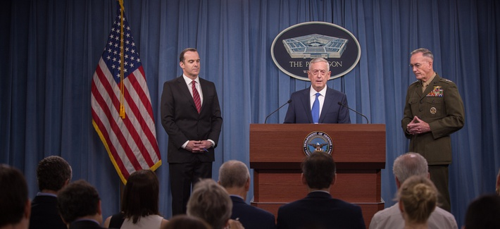 Defense Sec. Jim Mattis, center, details the first revised ISIS War plan of the Trump administration, with Joint Chiefs Chairman Gen. Joseph Dunford, and Special Envoy Brett McGurk, at the Pentagon, Fri., May 18, 2017.