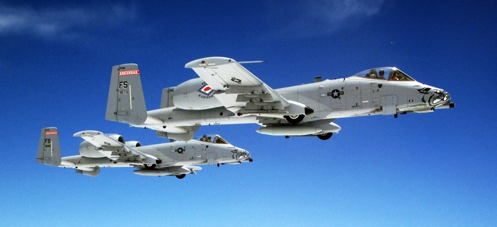 A pair of Air Force A-10 Warthogs fly in formation.