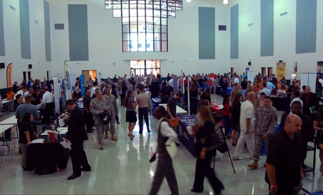 Hundreds of service members, veterans and military spouses attend a job fair in Tampa, Fla., Sept. 16, 2016.
