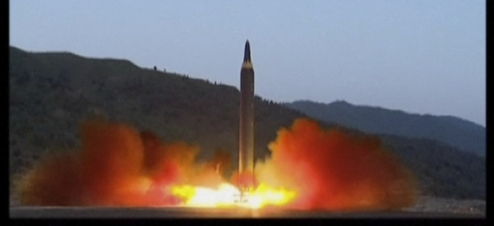 This image made from video of a news bulletin aired by North Korea's KRT on Monday, May 15, 2017, shows what was said to be the launch of the Hwasong-12 missile at an undisclosed location in North Korea.