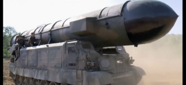 This image made from video of a news bulletin aired by North Korea's KRT on Monday, May 22, 2017, shows what was said to be the Pukguksong-2 missile at an undisclosed location in North Korea.