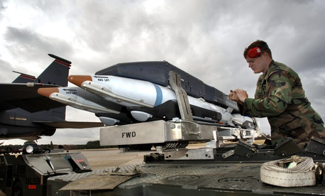 A recent arms deal would allow Saudi Arabia to buy more precision munitions such as the Small Diameter Bomb, seen here being loaded onto U.S. aircraft at Lakenheath, England.