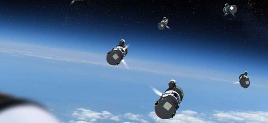 Artist's conception of the Multi-Object Kill Vehicle deploying to attack an incoming missile.