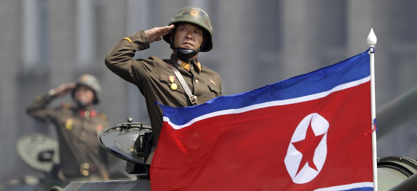 Soldiers in tanks are paraded across Kim Il Sung Square during a military parade on Saturday, April 15, 2017, in Pyongyang, North Korea.