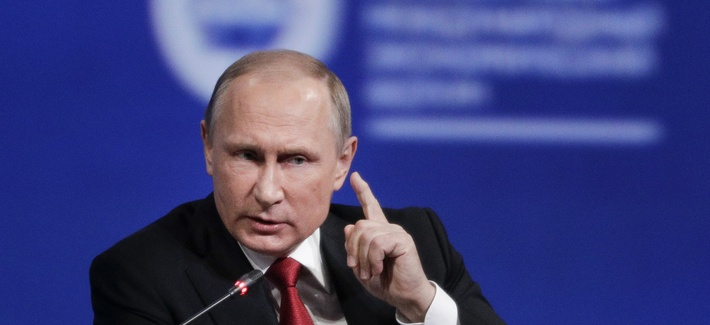 n this Friday, June 2, 2017, file photo, Russian President Vladimir Putin gestures as he speaks at the St. Petersburg International Economic Forum in St. Petersburg, Russia.