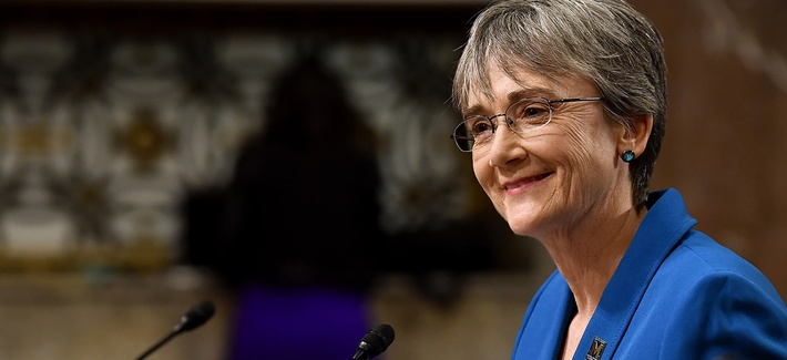 Secretary of the Air Force Nominee Heather Wilson testifies before the Senate Armed Services Committee, as a part of the confirmation process March 30, 2017, in Washington, D.C.