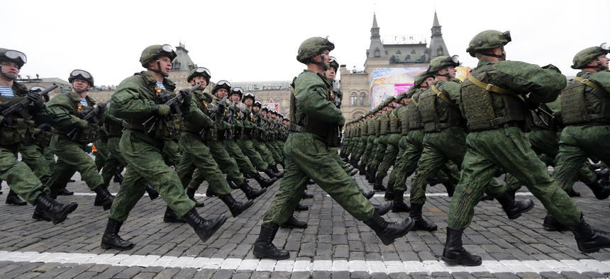 Russian soldiers dressed in a new field uniform marched along the Red Square last month during the Victory Day military parade to celebrate 72 years since the end of WWII.