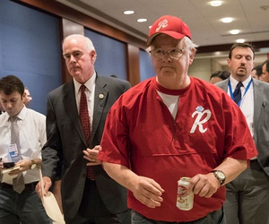 Rep. Joe Barton, with Rep. Pat Meehan (left) arrives on Capitol Hill Wednesday for a security briefing after a gunman opened fire at a congressional baseball practice in Alexandria, Virginia, wounding House Majority Whip Steve Scalise and others.