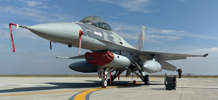 A Romanian Air Force F-16 at Fetesti Air Base, Romania, in October 2016.