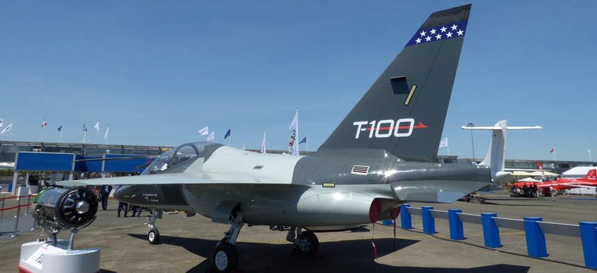 The Leonardo DRS T-100 pilot training jet at the 2017 Paris Air Show.