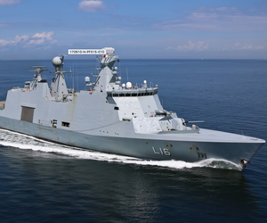 The Danish Absalon-class combat support ship HDMS Absalon (L16) transits the Baltic Sea during exercise BALTOPS 2017, June 10.