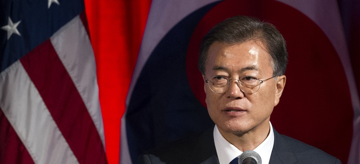 South Korean President Moon Jae-in speaks at a dinner hosted by the U.S. Chamber of Commerce and the South Korean Chamber of Commerce in Washington, Wednesday, June 28, 2017. (