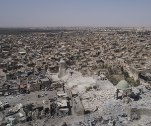 An aerial view of the destroyed landmark al-Nuri mosque in the Old City of Mosul, Iraq, June 28, 2017.