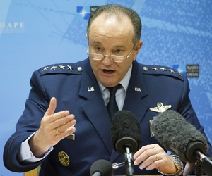 Supreme Allied Commander Europe U.S. Air Force Gen. Phillip Breedlove speaks during a media briefing at NATO headquarters in Brussels on Thursday, Feb. 11, 2016.