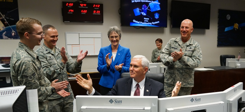 Vice Pres. Mike Pence, Air Force Secretary Heather Wilson, and Air Force Space Command's Gen. John Raymond, right, visit Peterson AFB, Schriever AFB and Cheyenne Mountain for a closer look at the military's space operations, June 23, 2017.