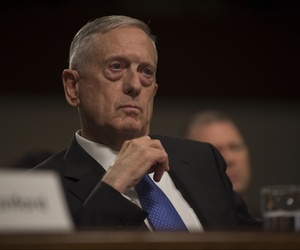 Defense Secretary Jim Mattis provides testimony on the Fiscal Year 2018 National Defense Authorization Budget Request from the Department of Defense to members of the Senate Committee on Armed Services in the Dirksen Senate Office Building in Washington D