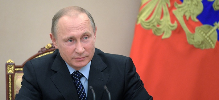 Russian President Vladimir Putin chairs a Security Council meeting in Moscow, Russia, Friday, June 16, 2017. The meeting was focused on the Russian military's claim that it had killed the Islamic State group's leader in a