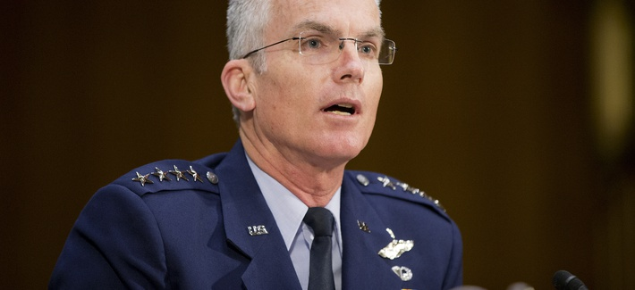 In this 2015 photo, Joint Chiefs of Staff Vice Chairman Gen. Paul Selva testifies before the Senate Armed Services Committee in Washington, D.C.