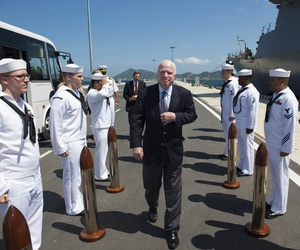 Sen. John S. McCain III is piped aboard during a visit to the Arleigh Burke-class guided-missile destroyer USS John S. McCain (DDG 56) in Cam Ranh, Vietnam, June 2, 2017.