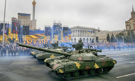 Tanks ride along Khreshchatyk Street, during a military parade to celebrate Independence Day in Kiev, Ukraine, Wednesday, Aug. 24, 2016.