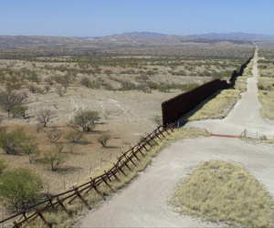 A drone view of the US-Mexico border fence outside Nogales, Arizona, Saturday, April 1, 2017.