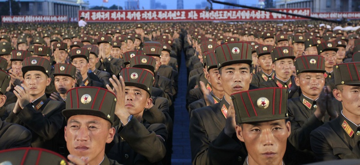 In this Thursday, July 6, 2017, file photo, soldiers gather in Kim Il Sung Square in Pyongyang, North Korea, to celebrate the test launch of North Korea's first intercontinental ballistic missile two days earlier.