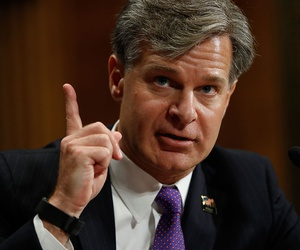 Christopher Wray testifies on Capitol Hill on July 12.
