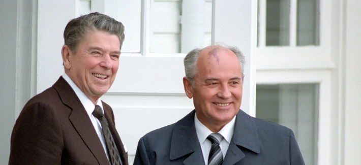 U.S President Reagan and Soviet General Secretary Gorbachev at the Reykjavik Summit in Iceland in 1986.