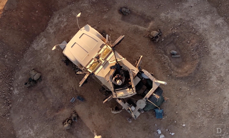 U.S. Marines in Syria in 2017, as seen from an aerial UAV.