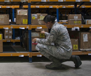 U.S. Air Force Airman 1st Class Kiara Alexander inventories cargo in the supply warehouse Oct. 4, 2016, at Incirlik Air Base, Turkey.