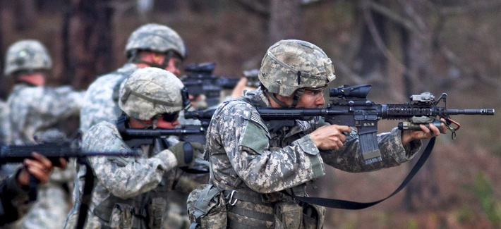 Scouts with the 82nd Airborne Division's 1st Brigade Combat Team fire on a line during a course in advanced rifle marksmanship at Fort Bragg, N.C.