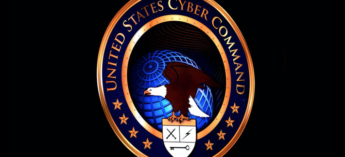 The seal of U.S. Cyber Command at Fort Meade, Md.