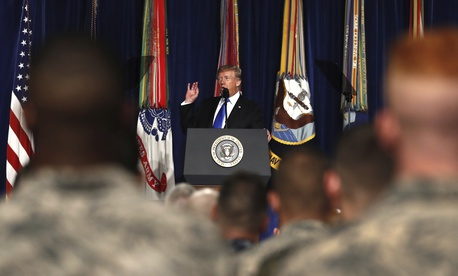 President Donald Trump speaks at Fort Myer in Arlington Va. about his policy for the ongoing war in Afghanistan.