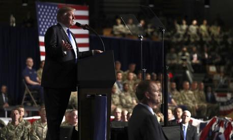 President Donald Trump speaks at Fort Myer in Arlington Va., Monday, Aug. 21, 2017.
