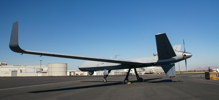 An MQ 9B From General Atomics On The Tarmac At Grey Butte California